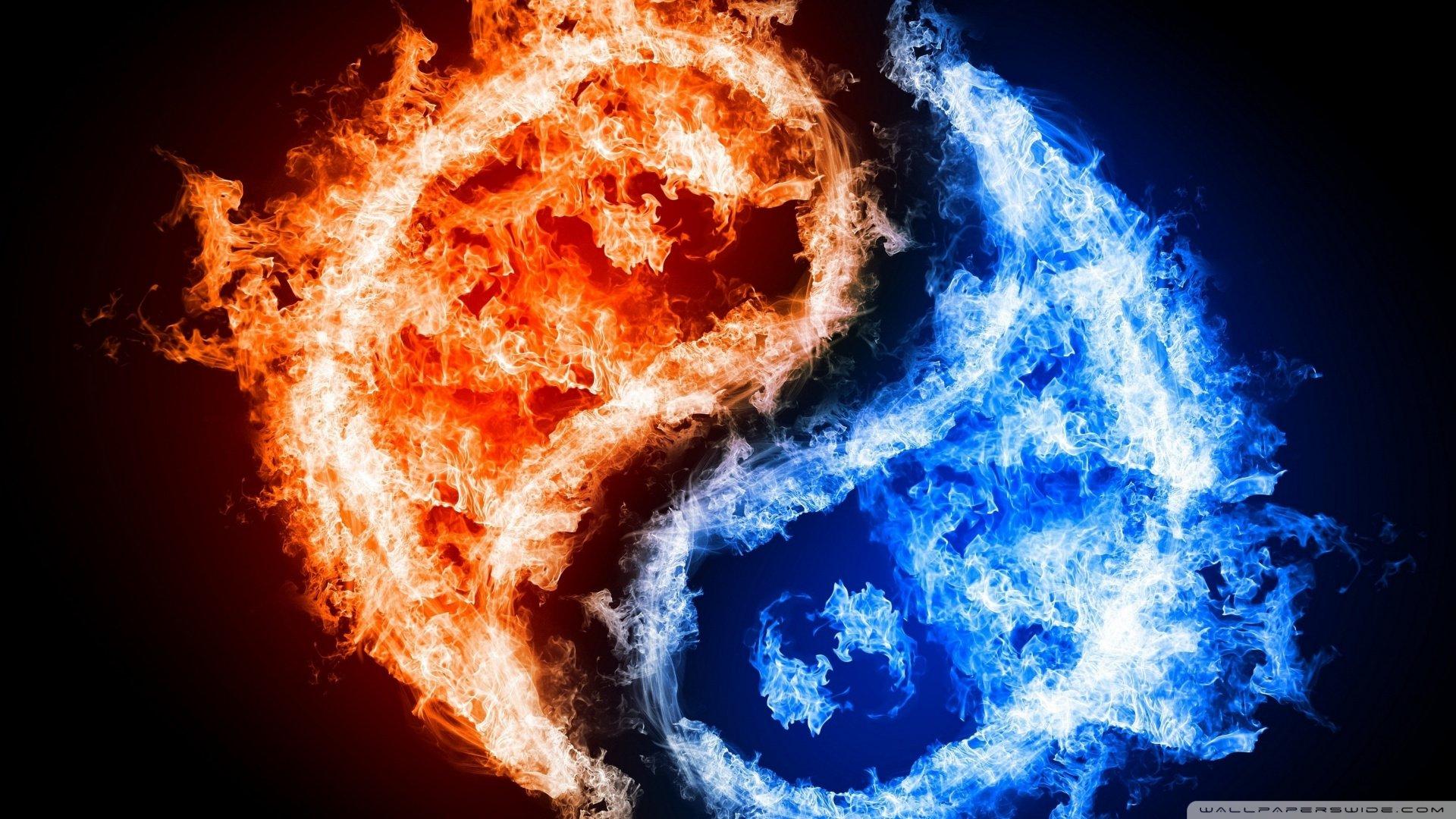 Yin Yang Fire Water Hd Wallpaper