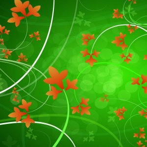 Floral Green and Orange wallpaper